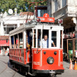 Red nostalgic tram — Stock Photo