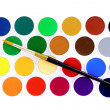 Watercolors with paint brush — Stock Photo