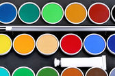 Watercolors with a white tube — Stock Photo