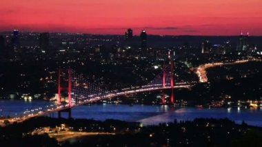 Istanbul Bosporus Bridge on sunset — Stock Video