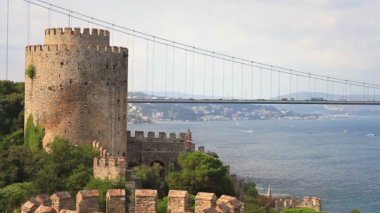 Rumelihisari Fortress in Istanbul, Turkey. — Stock Video