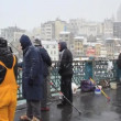 Fishing on Galata Bridge, Istanbul — Stock Video