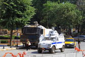 Police vehicles in front of Gezipark — Stock Photo