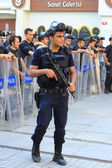 Police in full riot gear — Stock Photo