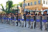 Riot police line — Stock Photo