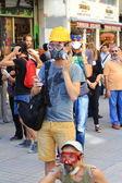 Demonstrator wearing gas mask — Stock Photo