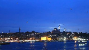 Istanbul night in blue — Stock Video