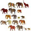 Set of patterned elephants in ethnic style - Stock Photo