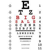 Publicidad venta grande con el examen de vista óptico utilizado por los médicos — Foto de Stock