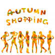 Foto Stock: Autumn shopping advertising with falling leaves patterned women