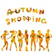 Autumn shopping advertising with falling leaves patterned women — Stock fotografie #13229484
