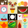 Stock Photo: Kitchen table cloth design