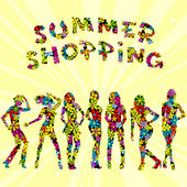 Summer shopping advertising with flowers patterned women silhoue — Foto Stock