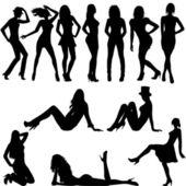 Satz von sexy frauen silhouetten — Stockfoto