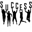 Stock Photo: Success concept with young team silhouettes