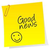 Feuille de papier avec texte de bonnes nouvelles — Photo