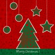 Stock Photo: Christmas card with Christmas tree and balls