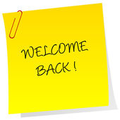 Sheet of paper with welcome back text — Stock Photo