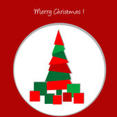 Christmas card with abstract Christmas tree and presents — Stok fotoğraf