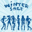 Winter sale advertising with women silhouettes — ストック写真