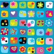 Seamless pattern with stars, flowers and hearts — Stock Photo #15788353