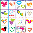 Stock Photo: Seamless pattern with hearts and love messages
