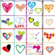 Seamless pattern with hearts and love messages — Stock Photo