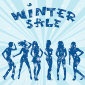Winter sale advertising with women silhouettes — Stok fotoğraf