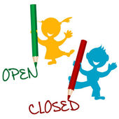 Open and closed announcement with children — 图库照片