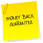 Money back guarantee post it — Stock Photo