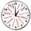 Conceptual clock for a healthy life - Stock Photo