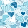 Stock Photo: Background with blue stylized hearts, seamless pattern