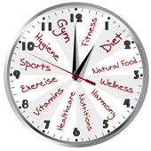 Conceptual clock for a healthy life — Stock Photo