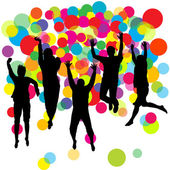 Happy boys and girls jumping over colored balls background — Stock Photo