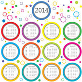 Colored circles 2014 calendar for kids — Stock Photo