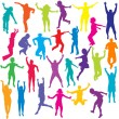 Set of colored and children silhouettes jumping — Stock Photo