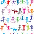 Seamless background with stylized colored kids playing — 图库照片