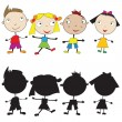 Stock Photo: Set of doodle children and their silhouettes