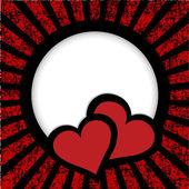 Dwa serca karty sunburst okładka i miejsce cały tekst — Zdjęcie stockowe