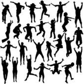 Aantal kinderen shilhouettes springen — Stockfoto