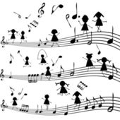 Music note with stylized kids silhouettes — Stock Photo