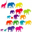 Set of elephant colored silhouettes — Stock Photo