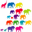 Stock Photo: Set of elephant colored silhouettes