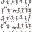 Set of children playing silhouettes — 图库照片