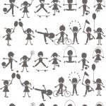 zbiór dzieci bawiące się sylwetki — Zdjęcie stockowe