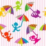 Children silhouettes with doodle umbrellas — Stock Photo #22326227