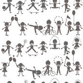 Set of children playing silhouettes — Stock Photo
