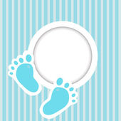 Blue card with baby feet — Stock Photo