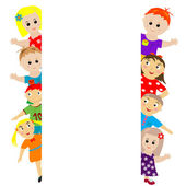 Banner with sylized kids around — Stock Photo