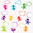 Stock Photo: Background with doodle kids